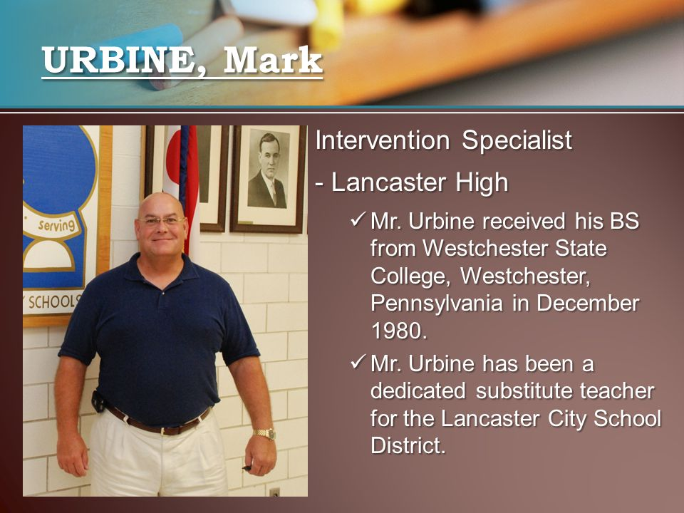 URBINE, Mark Intervention Specialist - Lancaster High