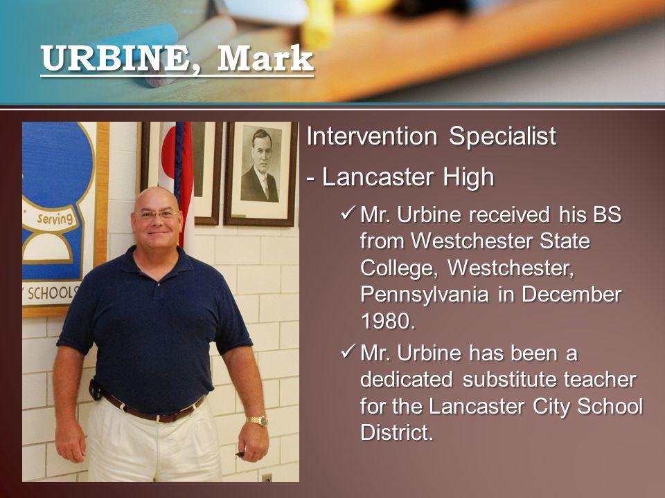 URBINE, Mark Intervention Specialist - Lancaster High