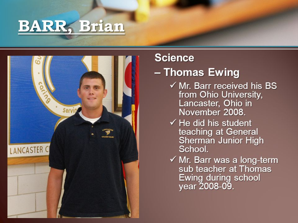 BARR, Brian Science – Thomas Ewing