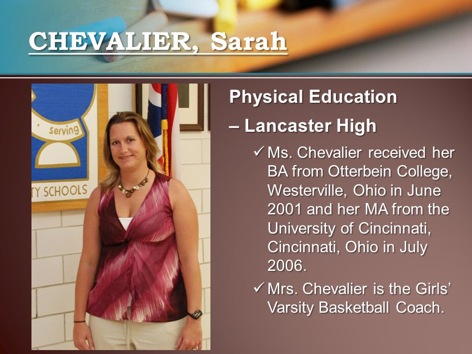 CHEVALIER, Sarah Physical Education – Lancaster High