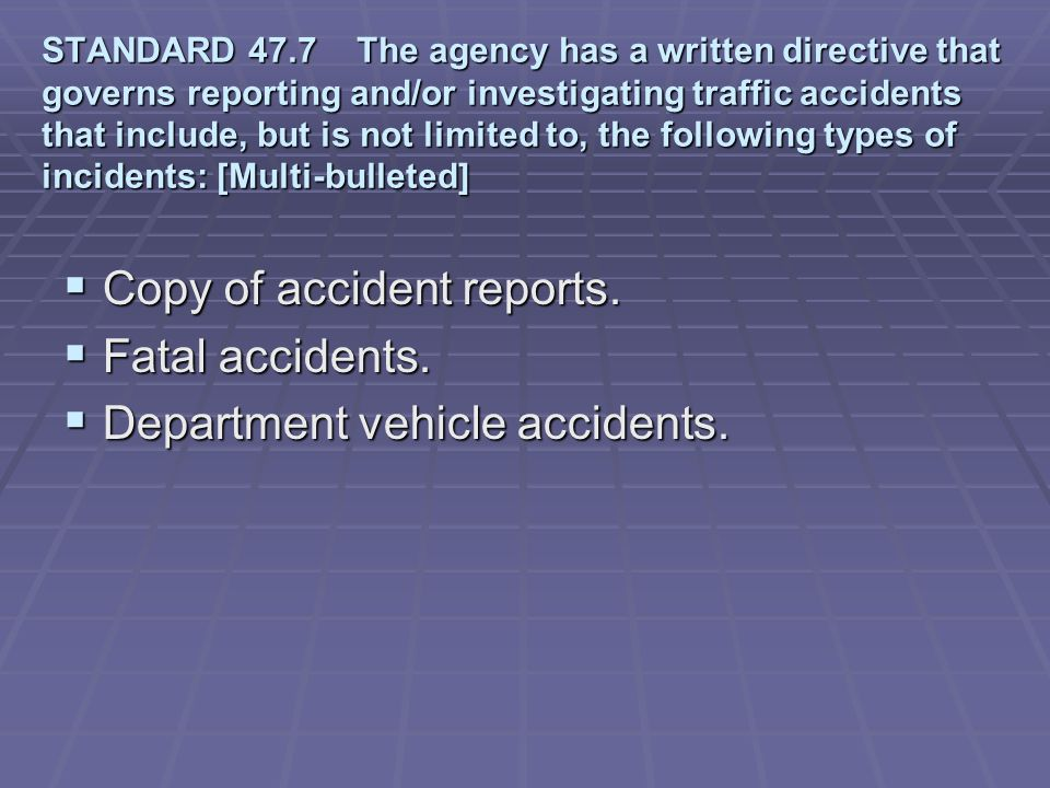 Copy of accident reports. Fatal accidents.