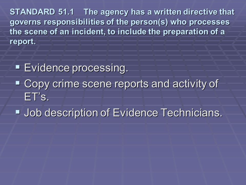 Copy crime scene reports and activity of ET's.