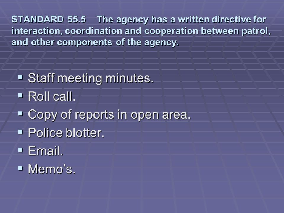 Copy of reports in open area. Police blotter. Email. Memo's.