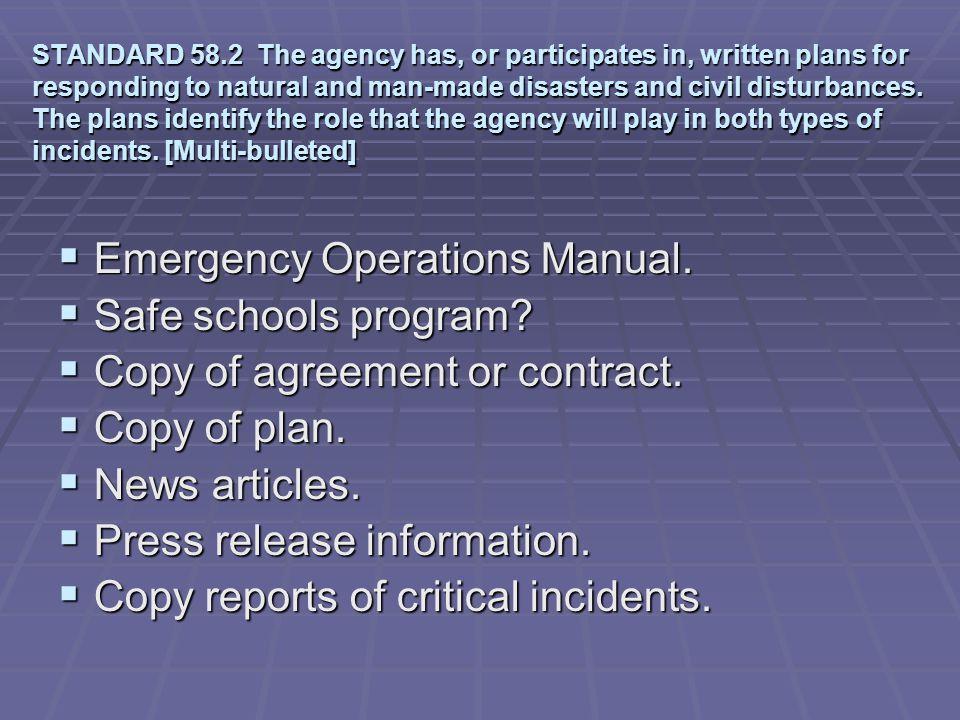 Emergency Operations Manual. Safe schools program