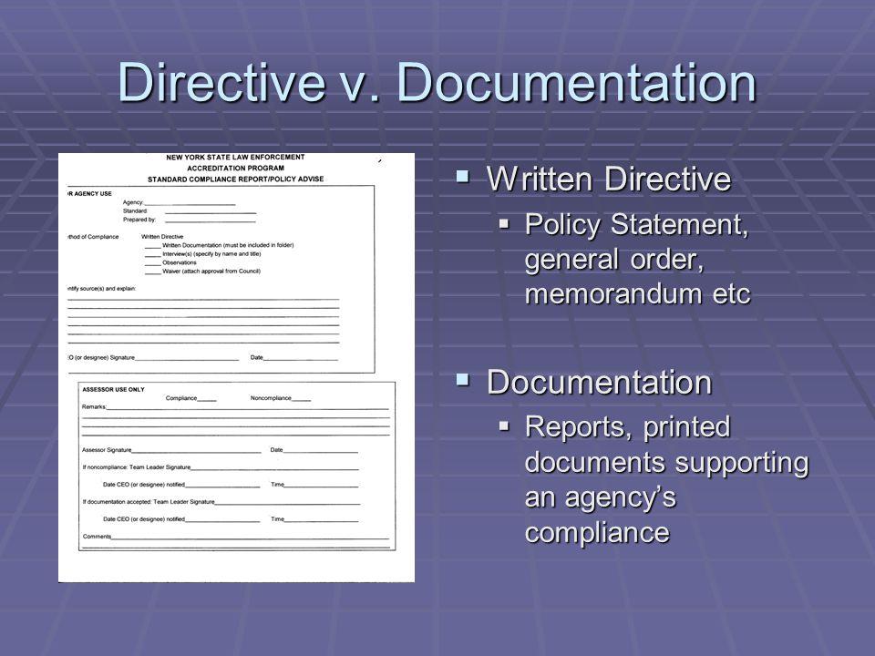 Directive v. Documentation