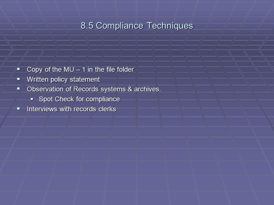 8.5 Compliance Techniques
