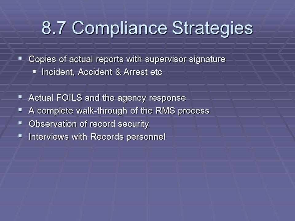 8.7 Compliance Strategies