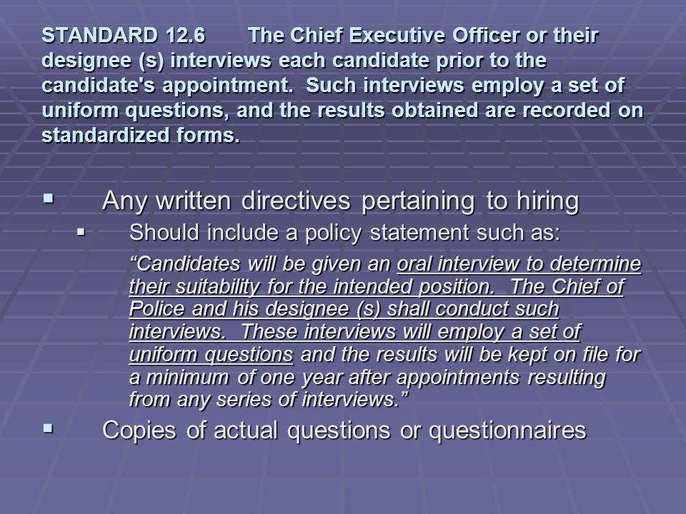 Any written directives pertaining to hiring