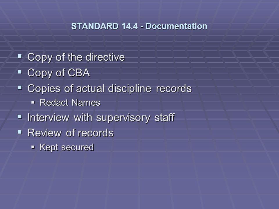 STANDARD 14.4 - Documentation