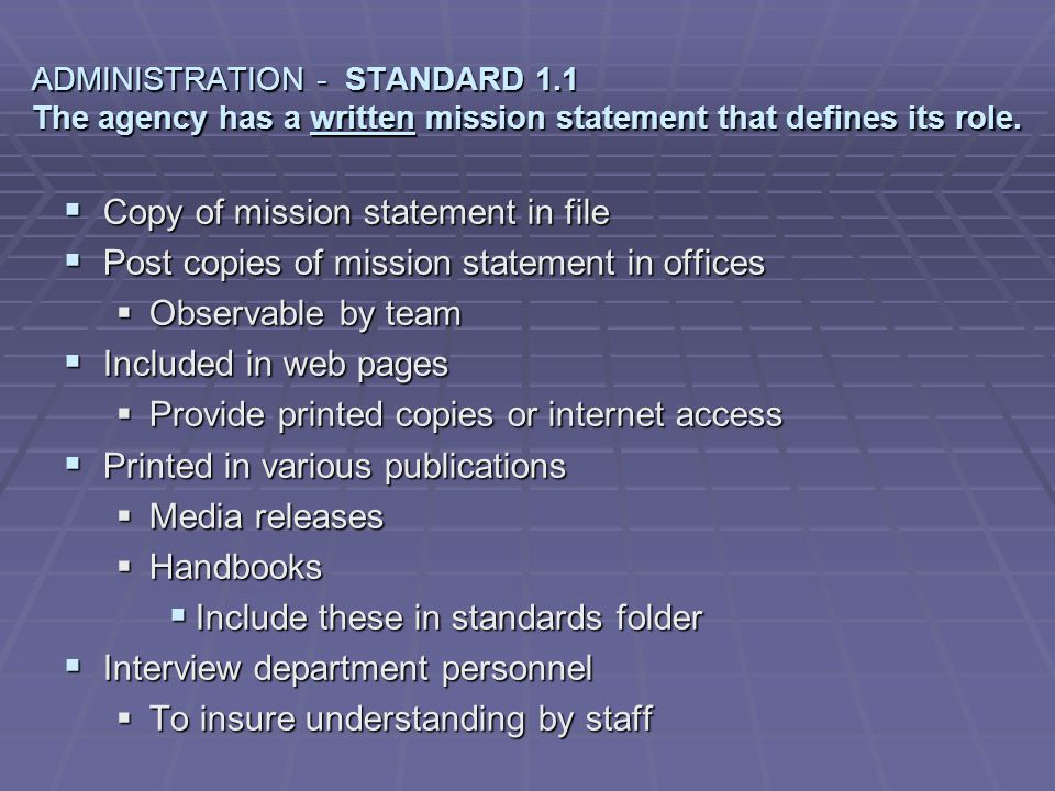 Copy of mission statement in file