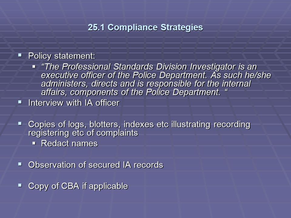 25.1 Compliance Strategies