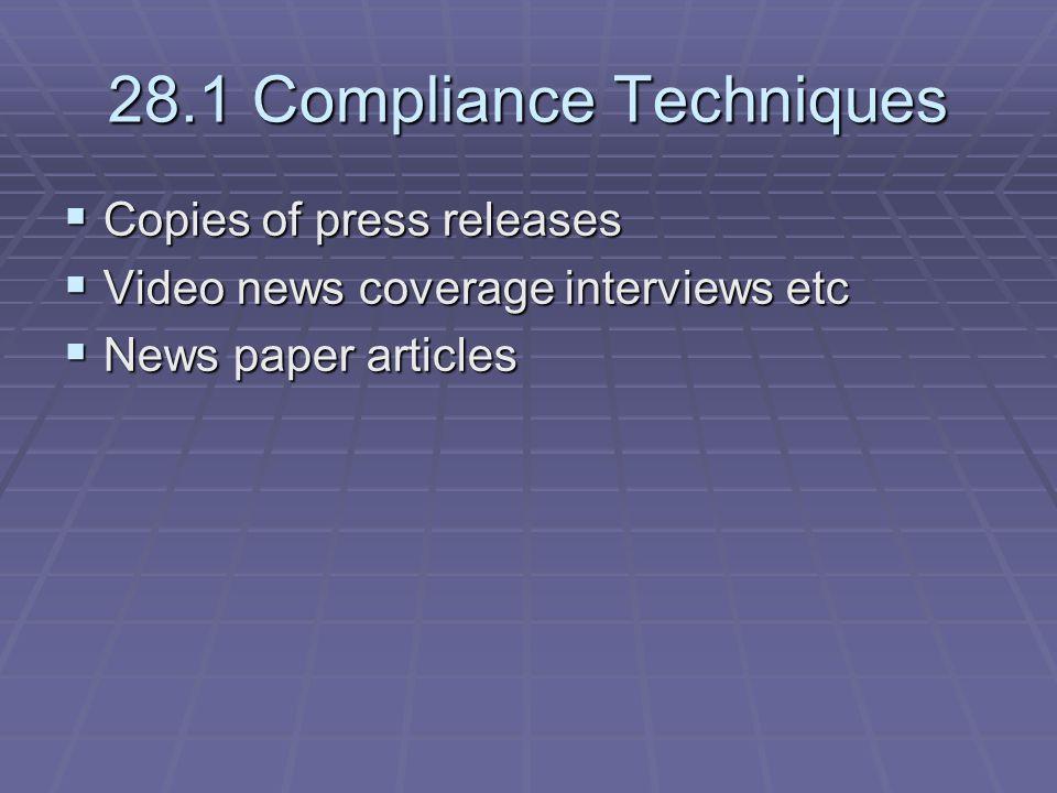 28.1 Compliance Techniques