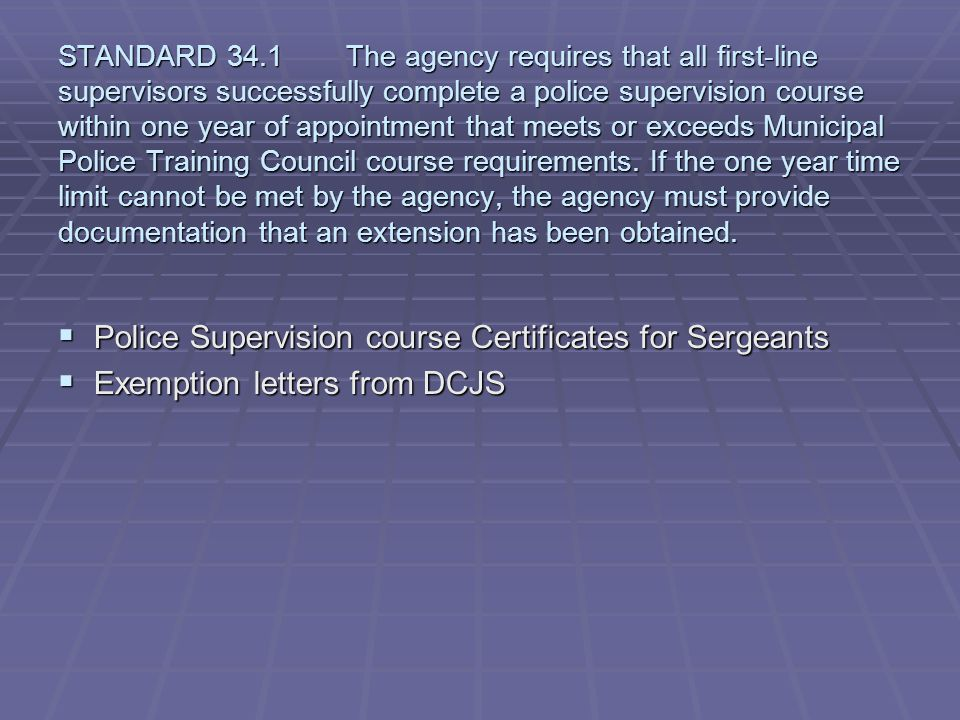 Police Supervision course Certificates for Sergeants