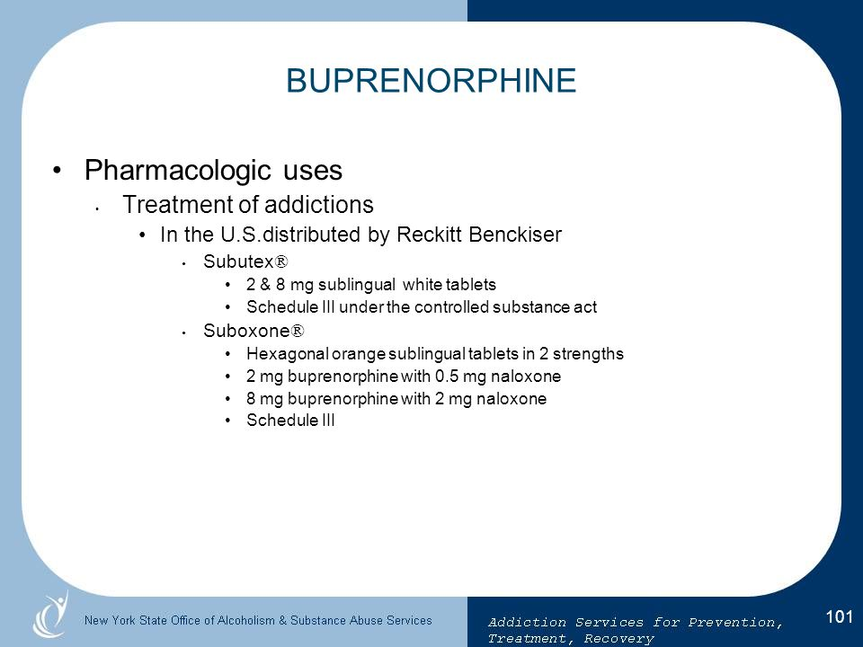 BUPRENORPHINE Pharmacologic uses Treatment of addictions