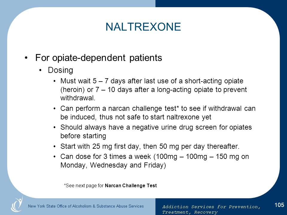 NALTREXONE For opiate-dependent patients Dosing