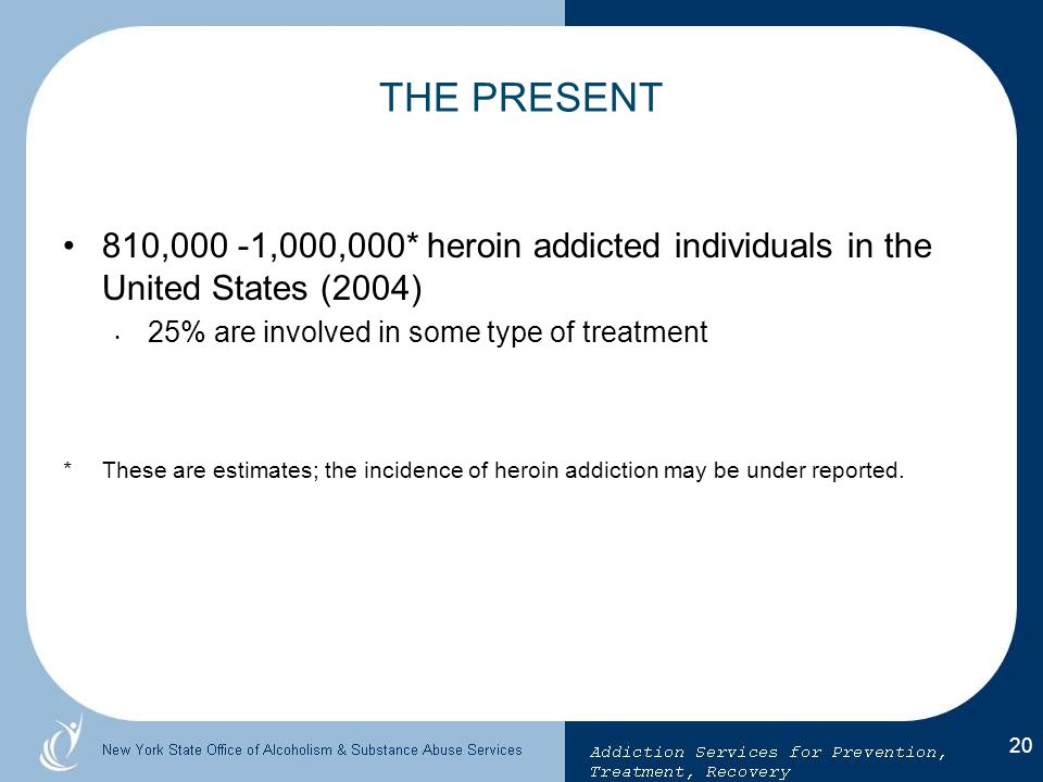 THE PRESENT 810,000 -1,000,000* heroin addicted individuals in the United States (2004) 25% are involved in some type of treatment.
