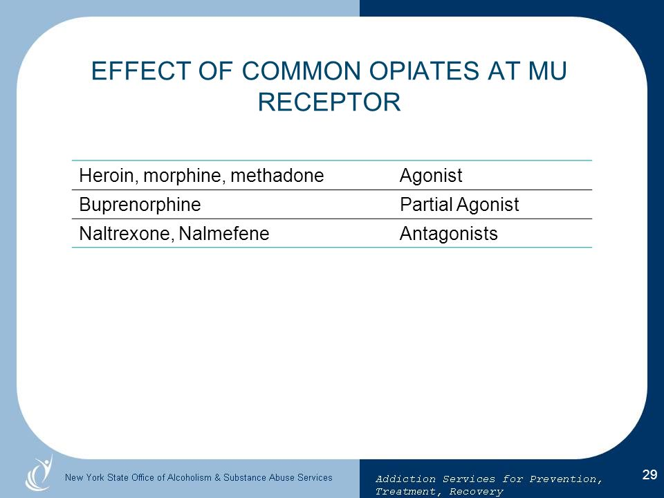 EFFECT OF COMMON OPIATES AT MU RECEPTOR