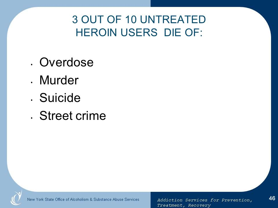 3 OUT OF 10 UNTREATED HEROIN USERS DIE OF: