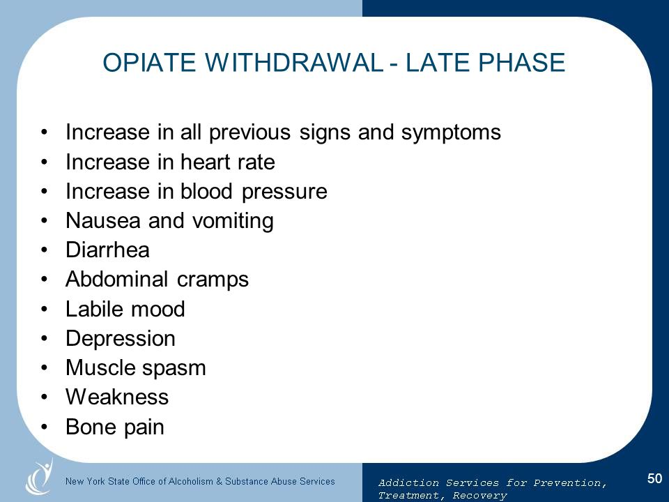 OPIATE WITHDRAWAL - LATE PHASE