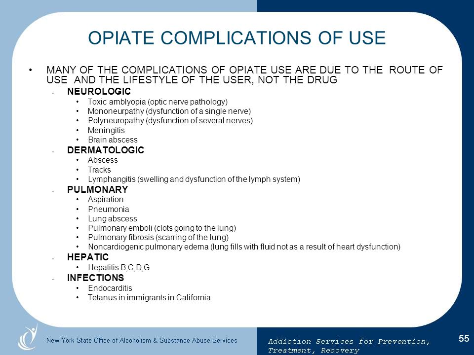 OPIATE COMPLICATIONS OF USE