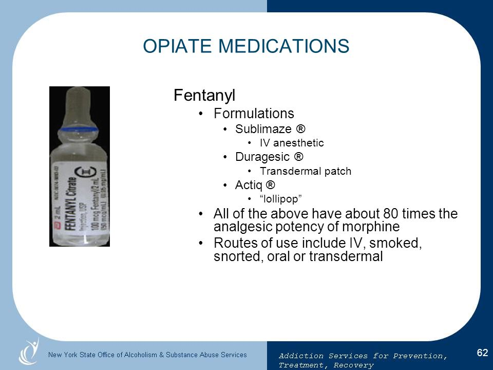 OPIATE MEDICATIONS Fentanyl Formulations