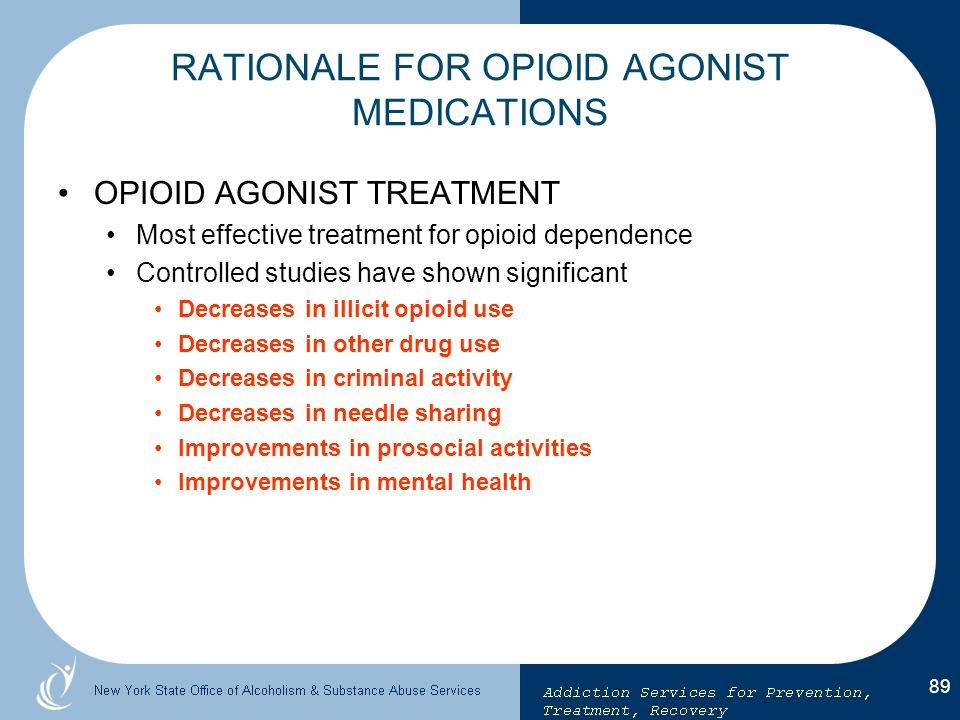 RATIONALE FOR OPIOID AGONIST MEDICATIONS