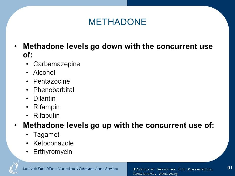 METHADONE Methadone levels go down with the concurrent use of: