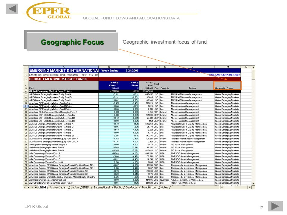 Geographic Focus Geographic investment focus of fund