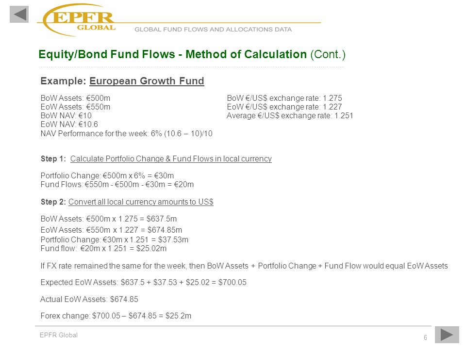 Equity/Bond Fund Flows - Method of Calculation (Cont