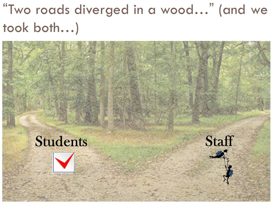 Two roads diverged in a wood… (and we took both…)