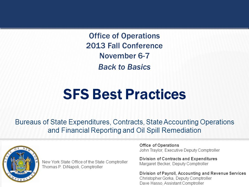 SFS Best Practices Office of Operations 2013 Fall Conference