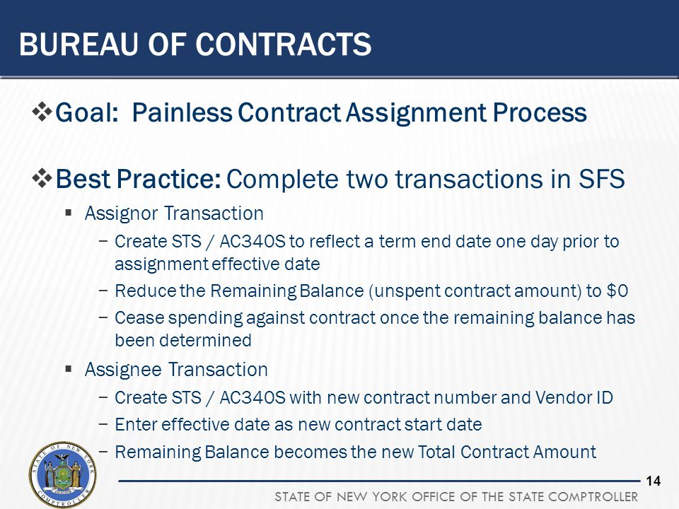 Bureau of contracts Goal: Painless Contract Assignment Process
