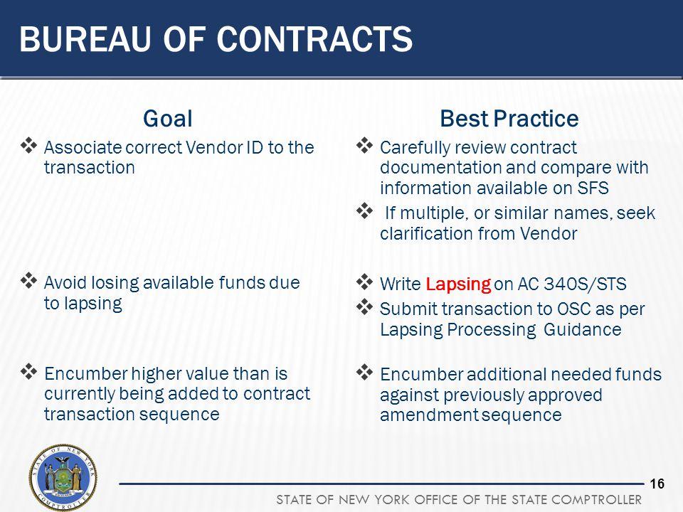 Bureau of contracts Goal Best Practice