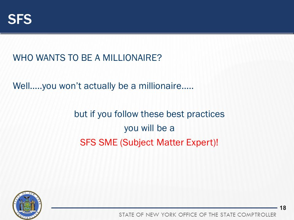 SFS WHO WANTS TO BE A MILLIONAIRE