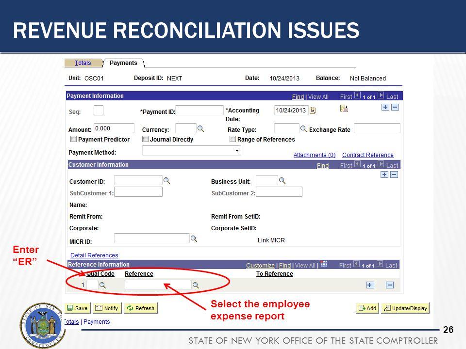 Revenue Reconciliation issues