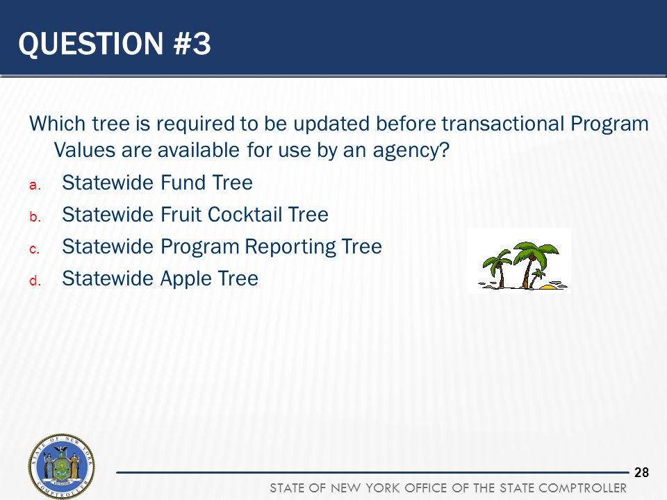 Question #3 Which tree is required to be updated before transactional Program Values are available for use by an agency