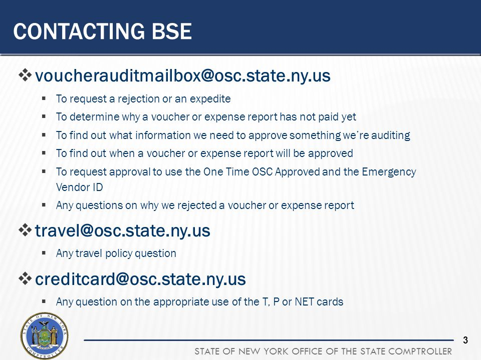 Contacting BSE voucherauditmailbox@osc.state.ny.us