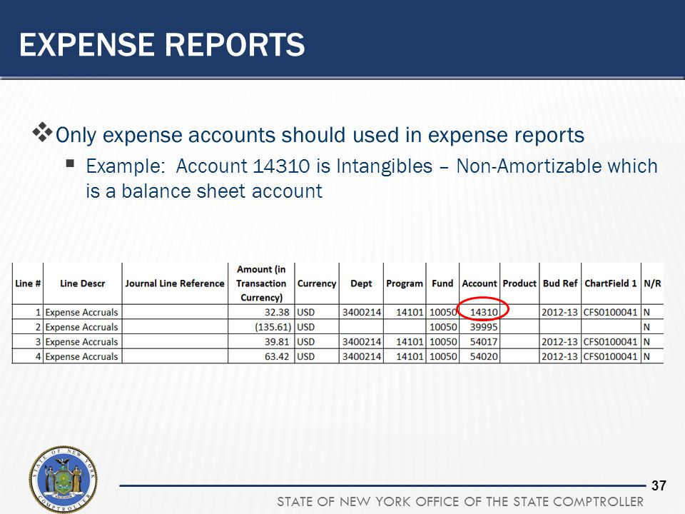 Expense reports Only expense accounts should used in expense reports