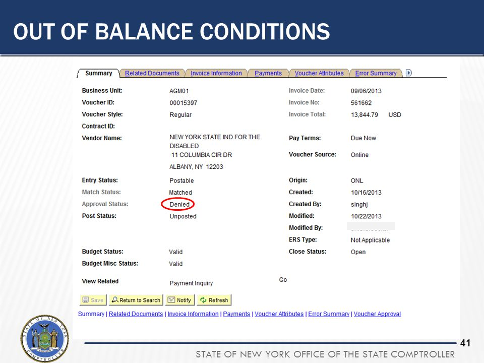 Out of balance conditions