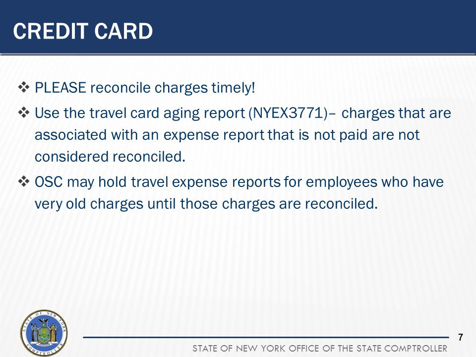 Credit Card PLEASE reconcile charges timely!