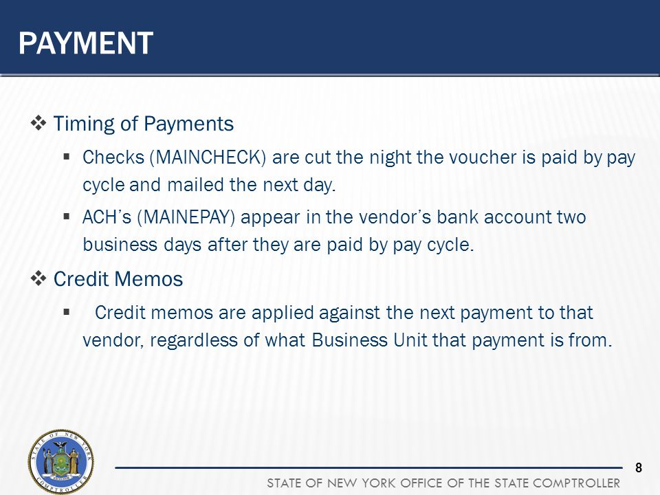 Payment Timing of Payments Credit Memos