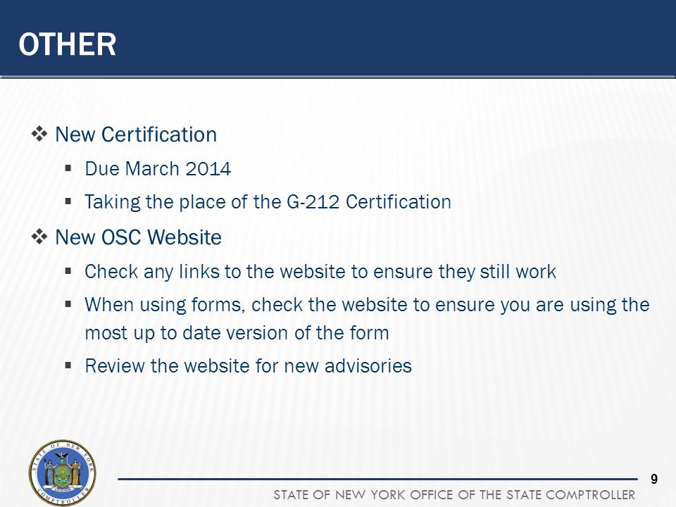 Other New Certification New OSC Website Due March 2014