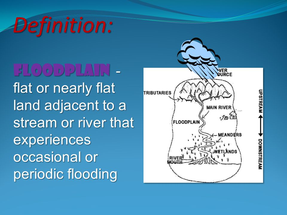 Definition: Floodplain - flat or nearly flat land adjacent to a stream or river that experiences occasional or periodic flooding.