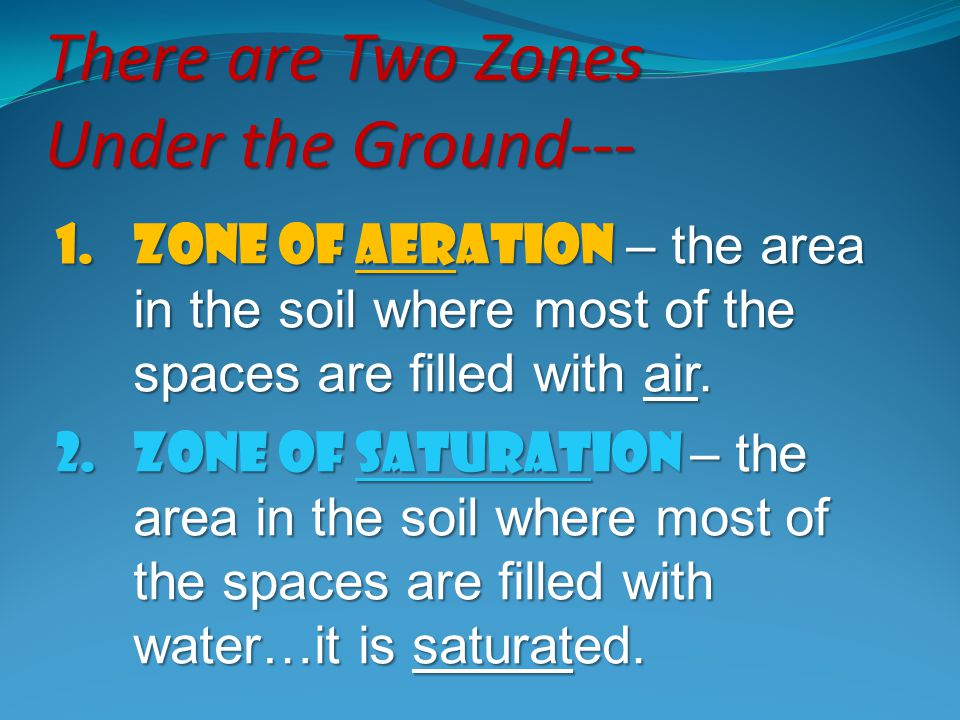 There are Two Zones Under the Ground---