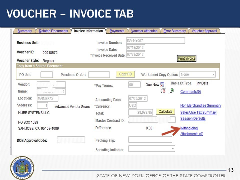 Voucher – Invoice Tab