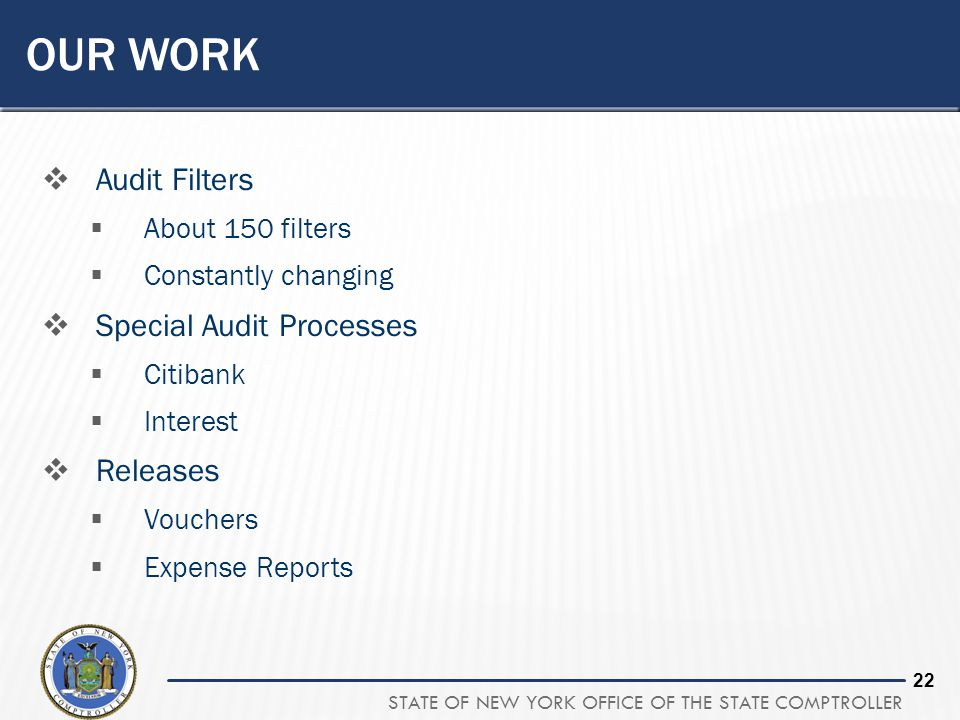 Our Work Audit Filters Special Audit Processes Releases