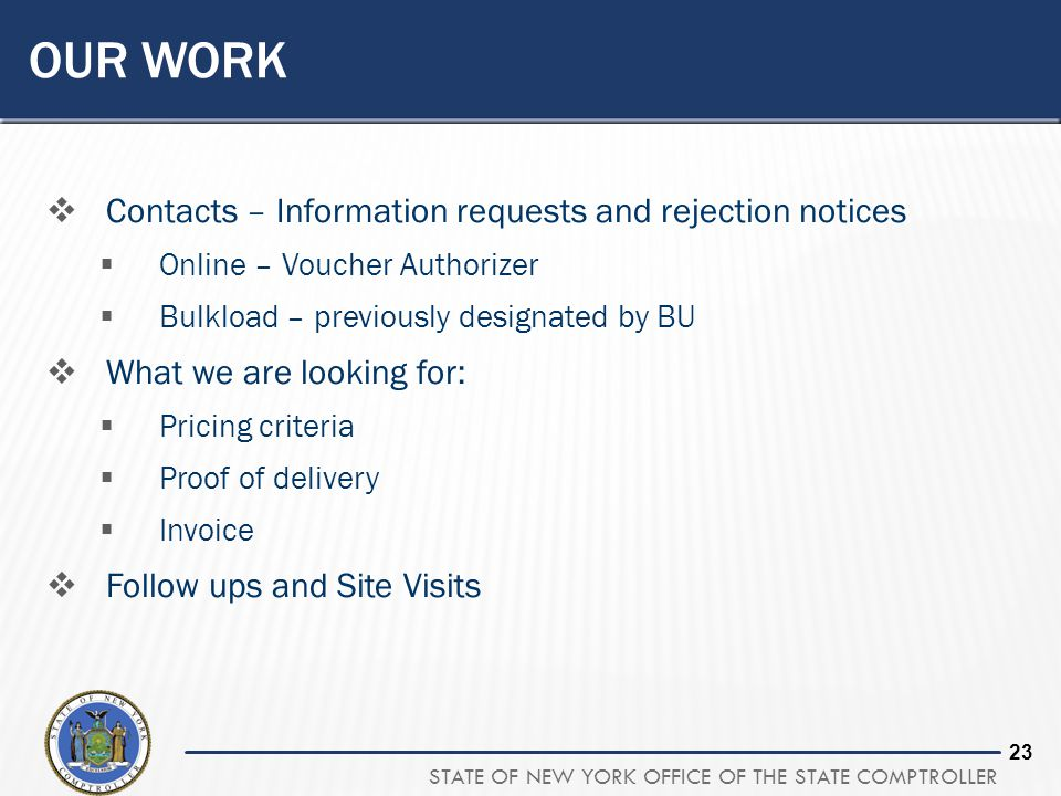 Our Work Contacts – Information requests and rejection notices
