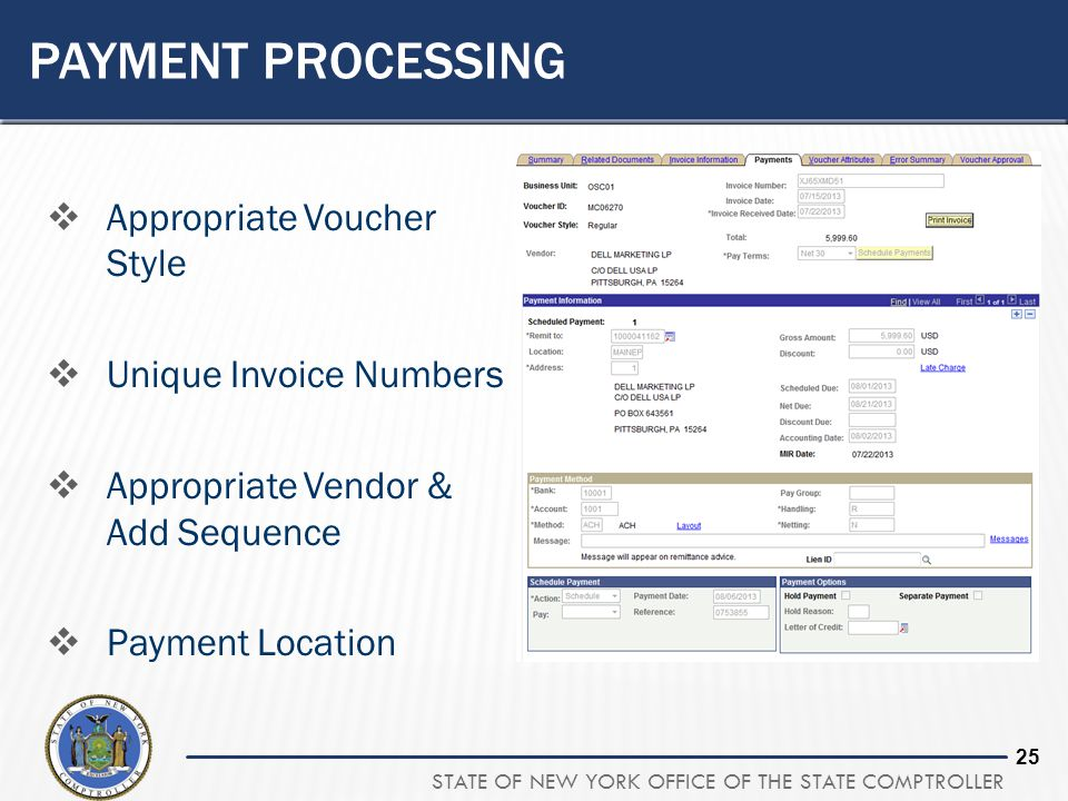 Payment processing Appropriate Voucher Style Unique Invoice Numbers