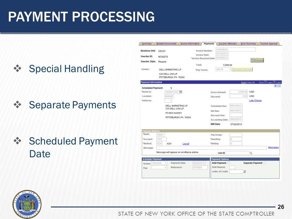 Payment processing Special Handling Separate Payments