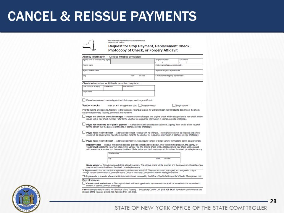 Cancel & Reissue Payments